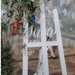 Signage Glass with white easel