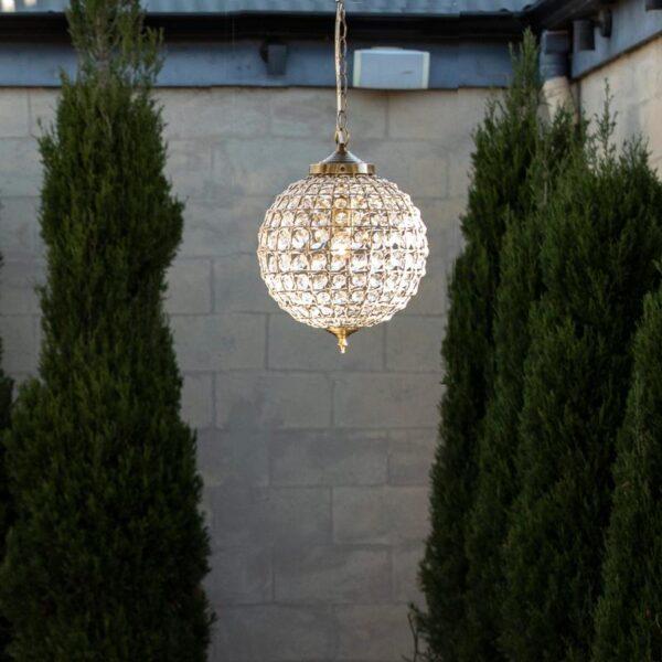 Casablanca Crystal Ball Chandelier Antique Brass 30cm 2 800x