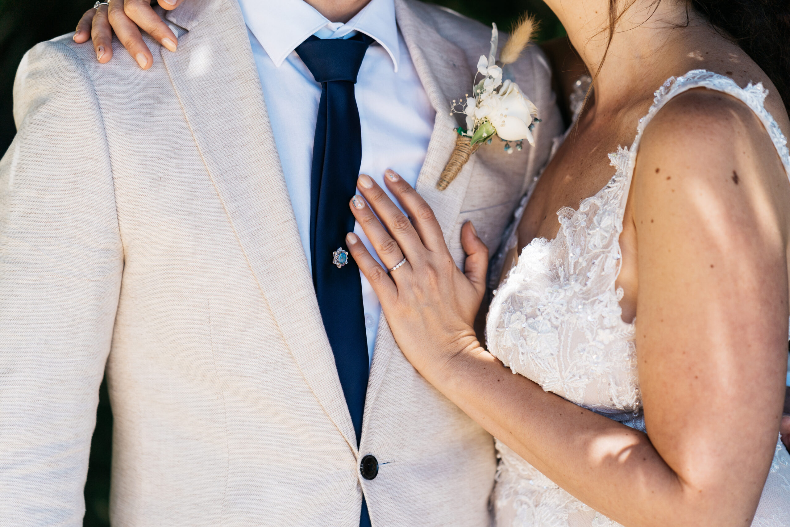 wedding gown and suit details | Tumbleweed Events